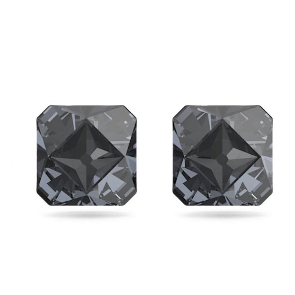 Chroma Stud Earrings, Pyramid cut crystals, Grey, Ruthenium plated - Swarovski, 5613723
