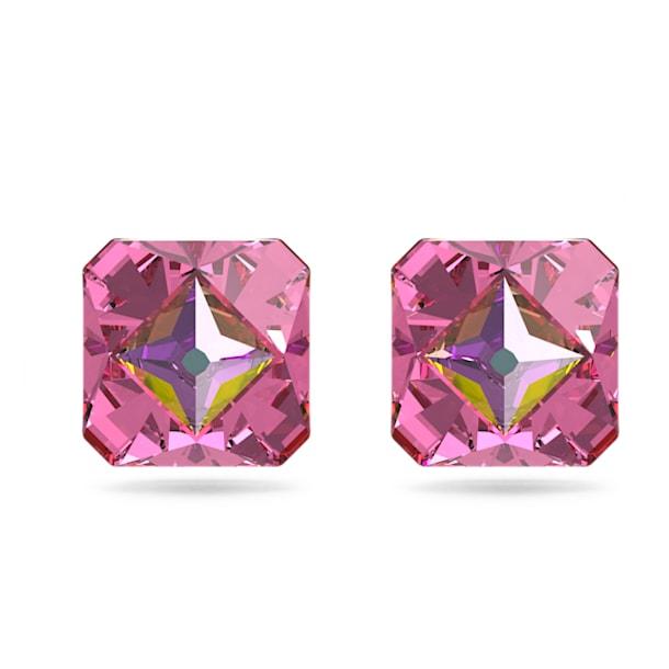 Pendientes de botón Chroma, Cristales de talla piramidal, Rosa, Baño tono oro - Swarovski, 5614062