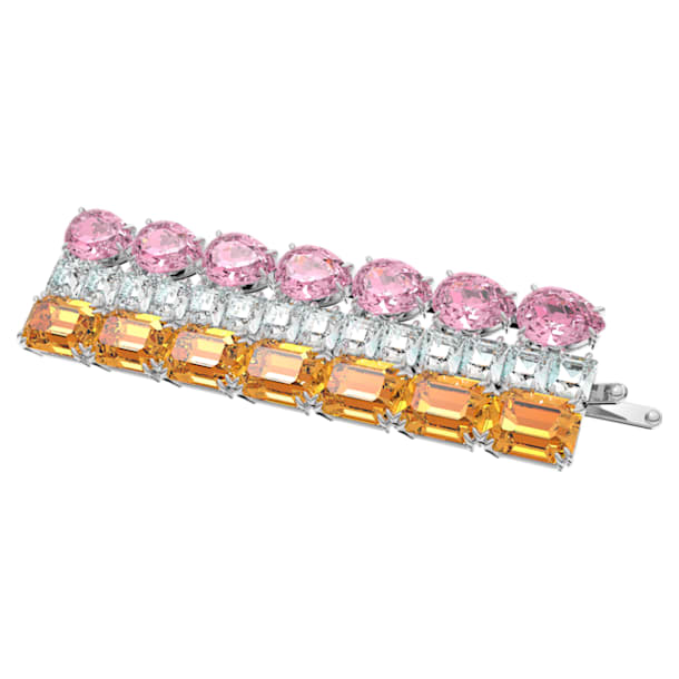 MIL002 hair clip, Precision cut crystals, Multicoloured, Rhodium plated - Swarovski, 5614090