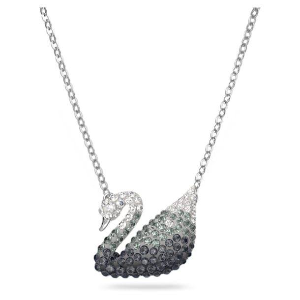 Iconic Swan 項鏈, 黑色, 鍍白金色 - Swarovski, 5614103