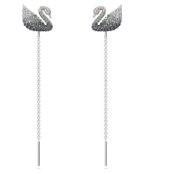 Iconic Swan 穿孔耳环, 天鹅, 黑色, 镀铑 - Swarovski, 5614117