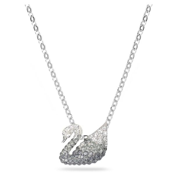 Iconic Swan pendant, Swan, Small, Black, Rhodium plated - Swarovski, 5614118