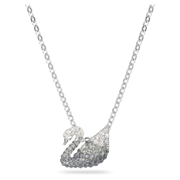 Iconic Swan necklace, Black, Rhodium plated - Swarovski, 5614118