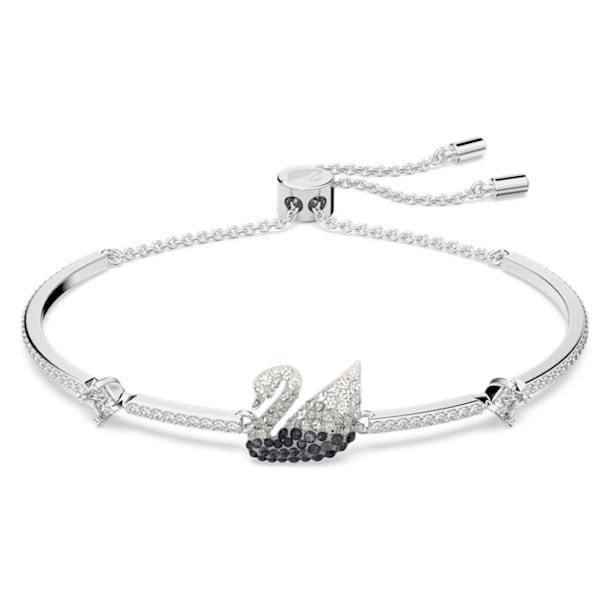 Iconic Swan bracelet, Black, Rhodium plated - Swarovski, 5614119