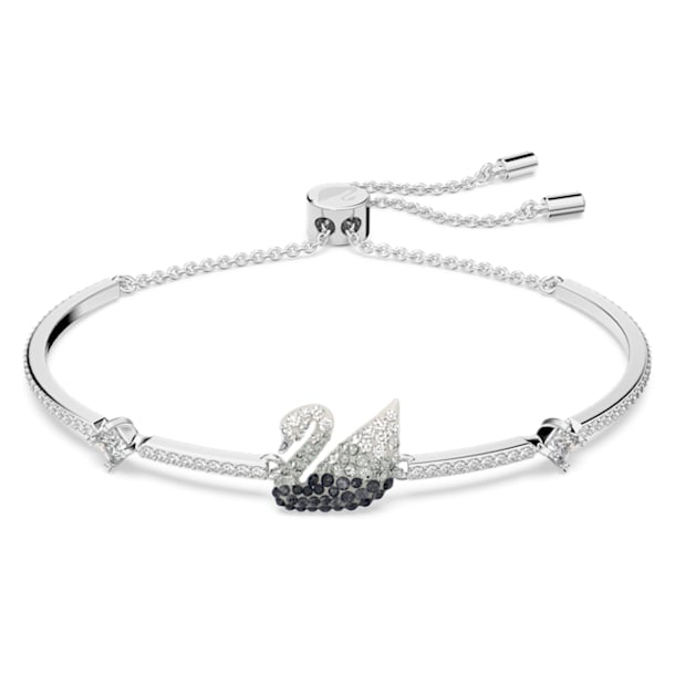 Iconic Swan bracelet, Black, Rhodium plated - Swarovski, 5614119