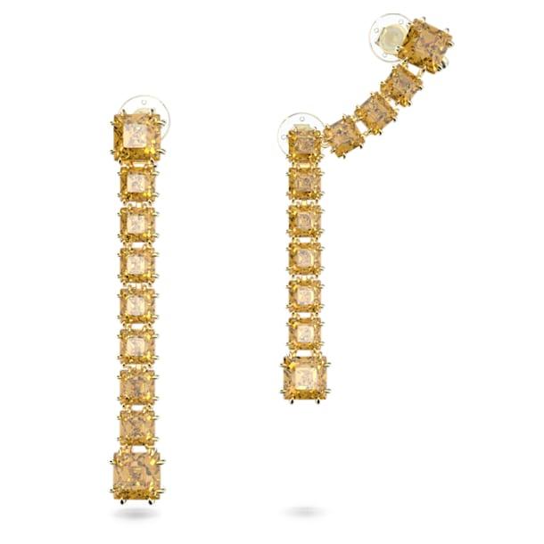Millenia earrings, Asymmetrical, Square cut crystal, Yellow, Gold-tone plated - Swarovski, 5614921