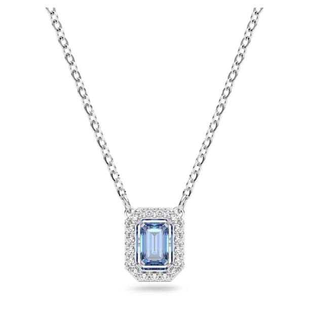 Collar Millenia, Zirconia Swarovski de talla octogonal, Azul, Baño de rodio - Swarovski, 5614926