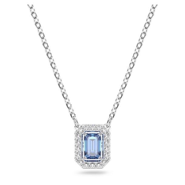 Millenia necklace, Octagon cut Swarovski Zirconia, Blue, Rhodium plated - Swarovski, 5614926