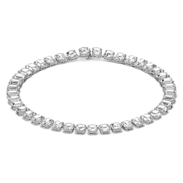 Millenia necklace, Octagon cut crystals, White, Rhodium plated - Swarovski, 5614929
