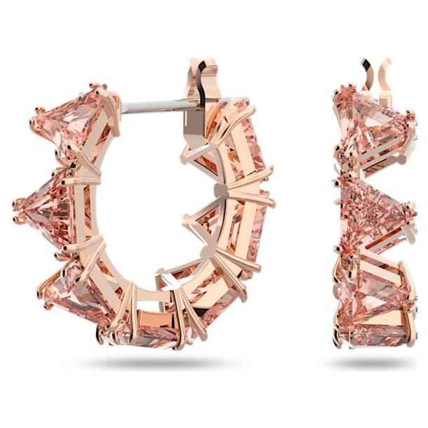 Millenia hoop earrings, Triangle Swarovski Zirconia, Small, Pink, Rose-gold tone plated - Swarovski, 5614930