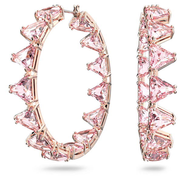 Millenia hoop earrings, Triangle cut crystals, Pink, Rose gold-tone plated - Swarovski, 5614931