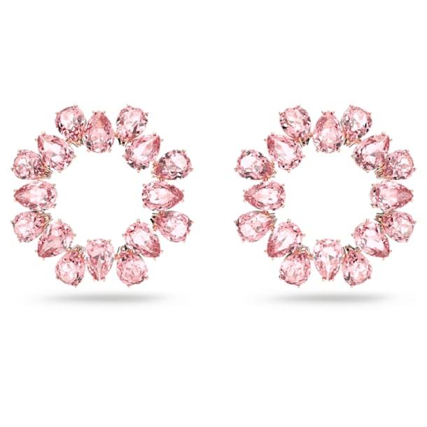 Millenia hoop earrings, Pear cut crystals, Pink, Rose gold-tone plated - Swarovski, 5614932