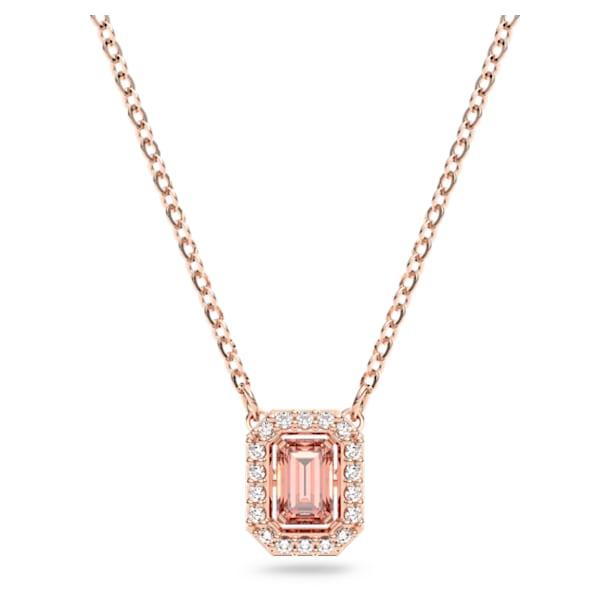 Millenia necklace, Octagon cut Swarovski Zirconia, Pink, Rose-gold tone plated - Swarovski, 5614933