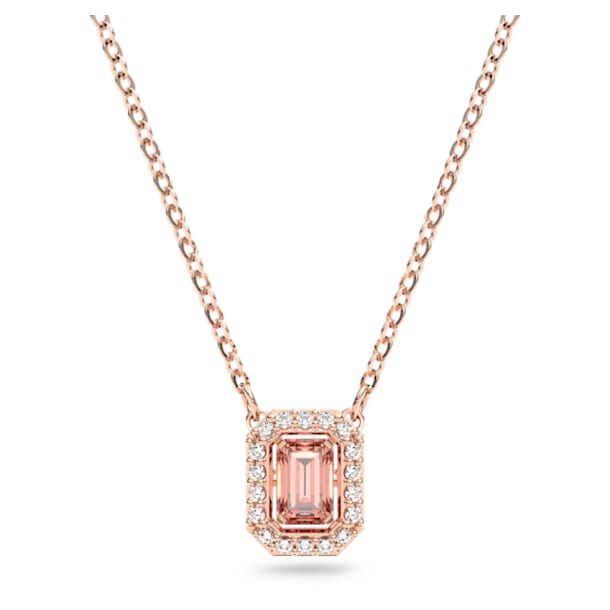Millenia necklace, Octagon cut Swarovski zirconia, Pink, Rose gold tone plated - Swarovski, 5614933