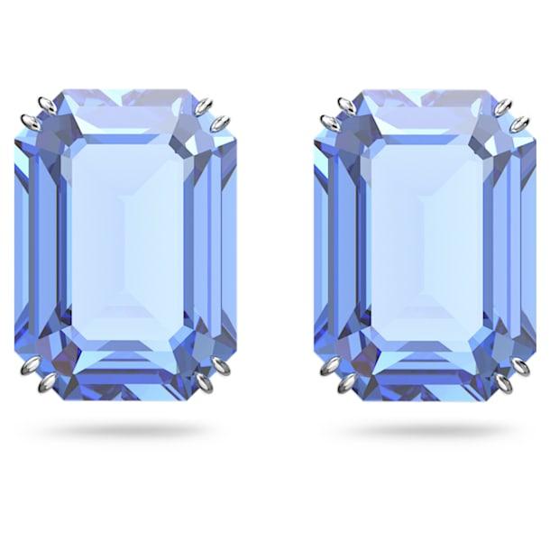 Millenia stud earrings, Octagon cut crystals, Blue, Rhodium plated - Swarovski, 5614935