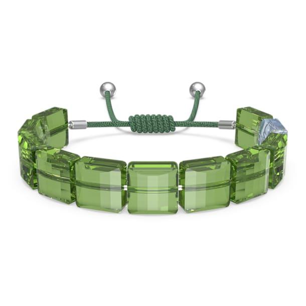 Letra bracelet, Clover, Green, Rhodium plated - Swarovski, 5614970
