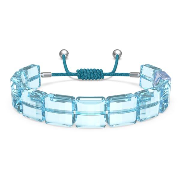 Letra bracelet, Evil eye, Blue, Rhodium plated - Swarovski, 5614971