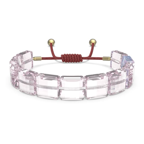 Letra bracelet, Lotus, Pink, Gold-tone plated - Swarovski, 5614974