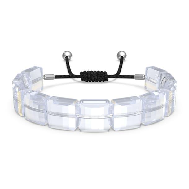 Letra bracelet, Yin Yang, White, Rhodium plated - Swarovski, 5614979
