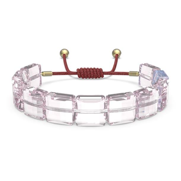 Letra Armband, Herz, Rosa, Goldlegierungsschicht - Swarovski, 5615001