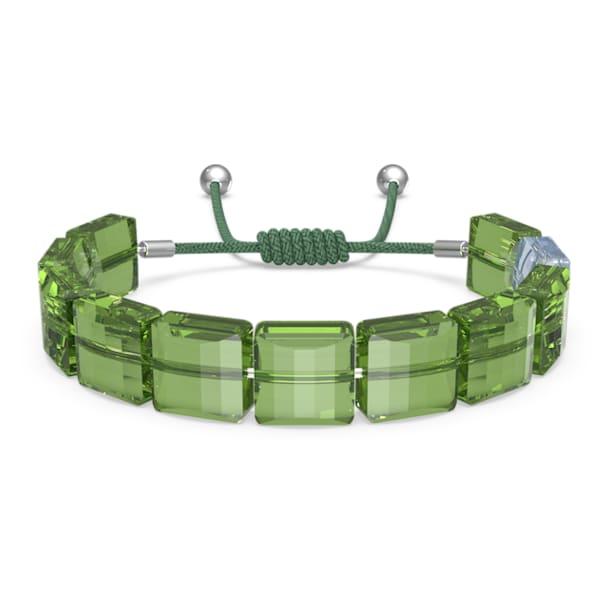 Letra bracelet, Peace, Green, Rhodium plated - Swarovski, 5615003
