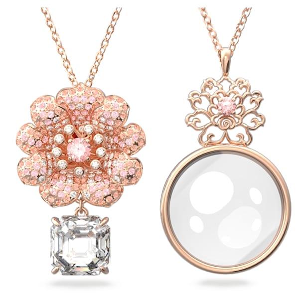 心相莲 链坠套装, 粉红色, 镀玫瑰金色调 - Swarovski, 5615095