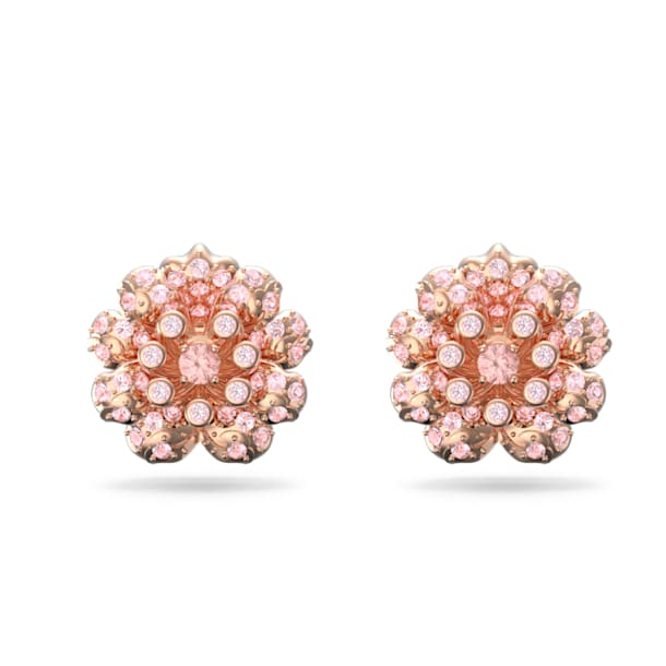 Connexus earrings, Pink, Rose-gold tone plated - Swarovski, 5615102