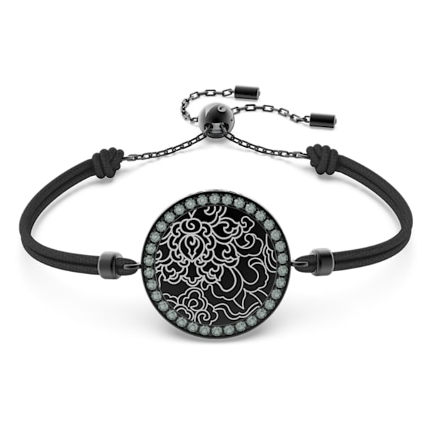 Connexus medallion bracelet, Black, Rhodium plated - Swarovski, 5615189