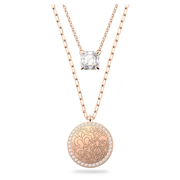 Connexus medallion necklace, Pink, Rose-gold tone plated - Swarovski, 5615190