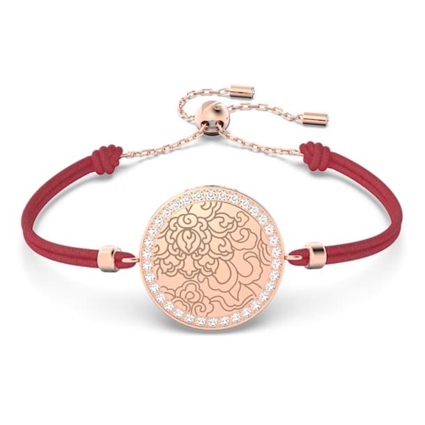 Connexus medallion bracelet, White, Rose-gold tone plated - Swarovski, 5615194