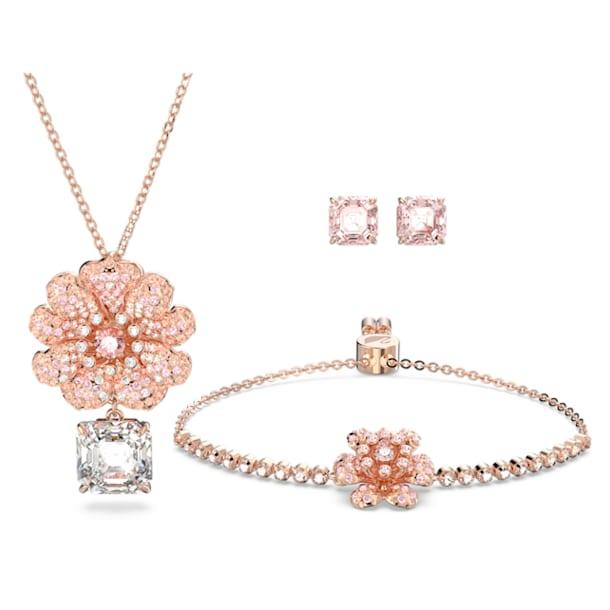 心相莲 吊坠, 手链和耳环套装, 流光溢彩, 镀玫瑰金色调 - Swarovski, 5615359