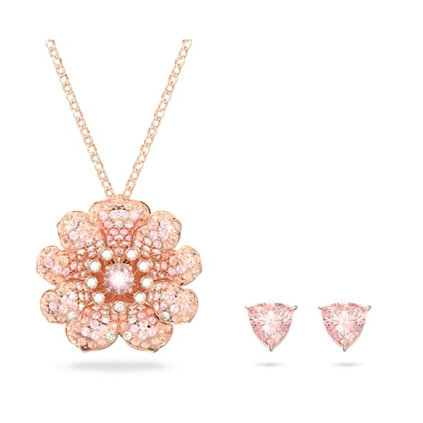 心相莲 吊坠和耳环套装, 粉红色, 镀玫瑰金色调 - Swarovski, 5615360
