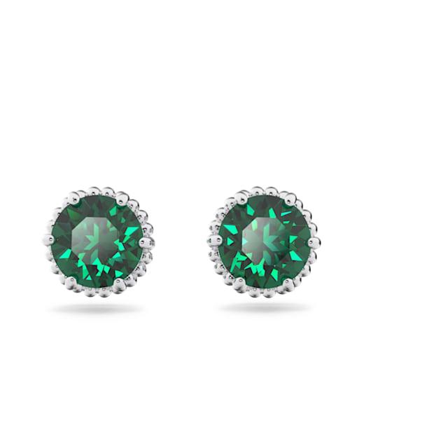 Birthstone stud earrings, May, Green, Rhodium plated - Swarovski, 5615511