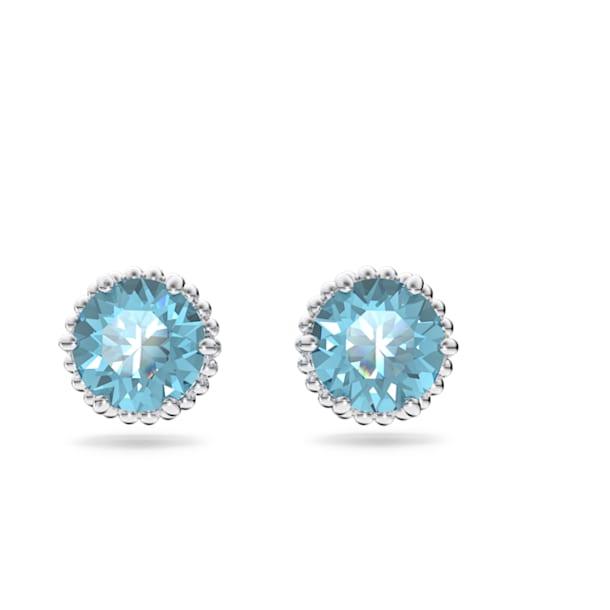 Birthstone stud earrings, March, Blue, Rhodium plated - Swarovski, 5615512