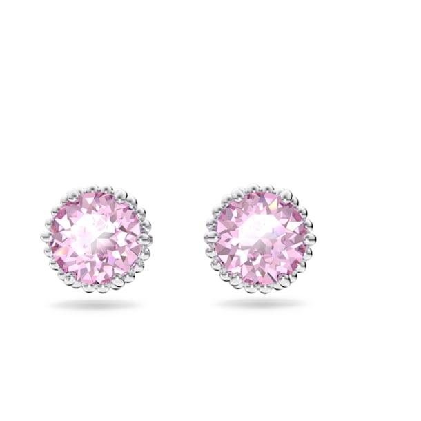 Birthstone earrings, June, Pink, Rhodium plated - Swarovski, 5615514