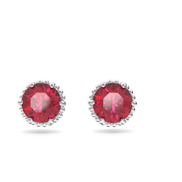 Birthstone stud earrings, July, Red, Rhodium plated - Swarovski, 5615515