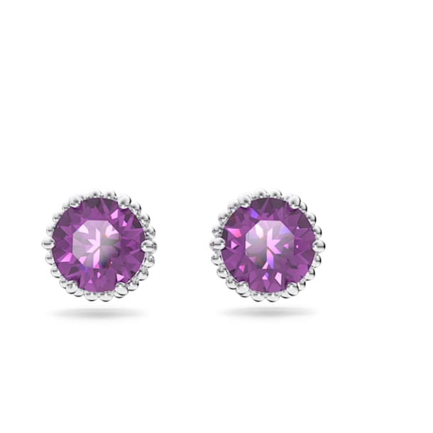 Birthstone stud earrings, February, Purple, Rhodium plated - Swarovski, 5615517