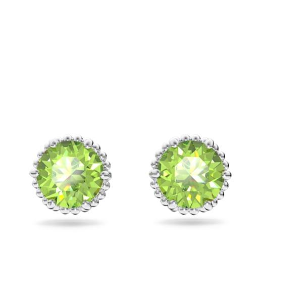 Birthstone stud earrings, August, Green, Rhodium plated - Swarovski, 5615519