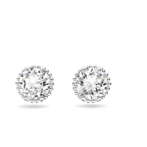 Birthstone earrings, April, White, Rhodium plated - Swarovski, 5615520