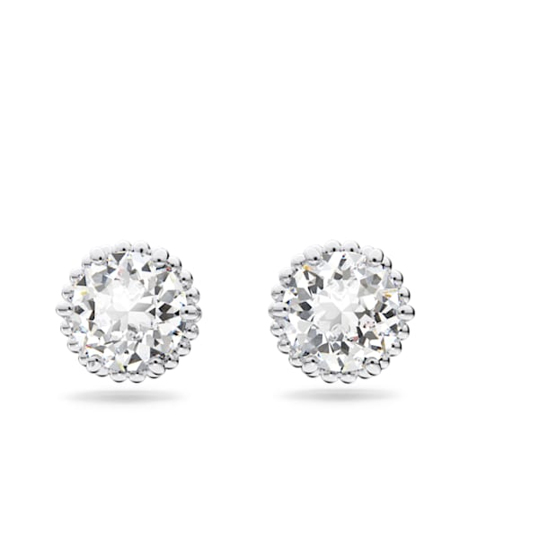Birthstone stud earrings, April, White, Rhodium plated - Swarovski, 5615520