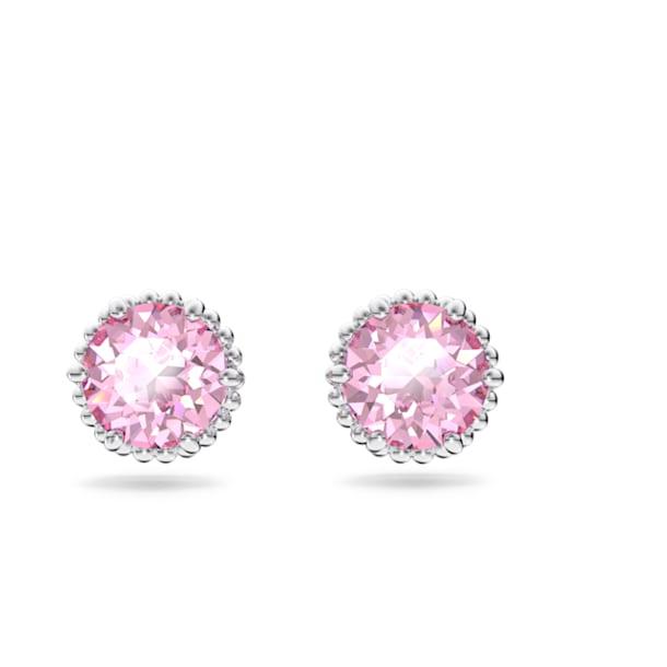 Birthstone stud earrings, October, Pink, Rhodium plated - Swarovski, 5615521