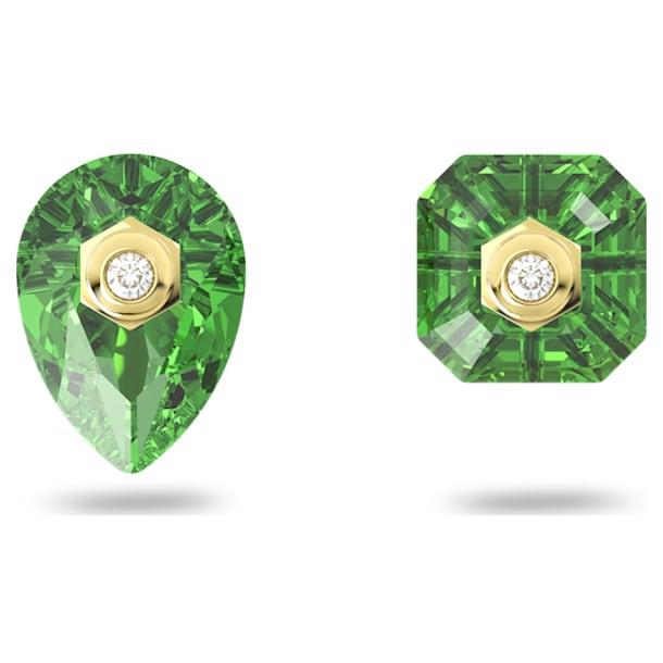 Numina stud earrings, Asymmetrical, Green, Gold-tone plated - Swarovski, 5615529