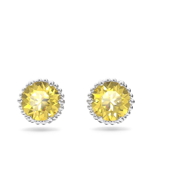 Birthstone earrings, November, Yellow, Rhodium plated - Swarovski, 5615531