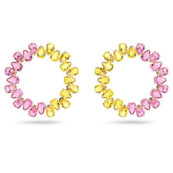 Pendientes de aro Millenia, Cristales de talla pera, Multicolor, Baño tono oro - Swarovski, 5615619