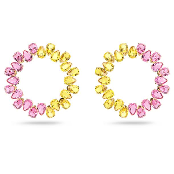 Millenia hoop earrings, Pear cut crystals, Multicoloured, Gold-tone plated - Swarovski, 5615619