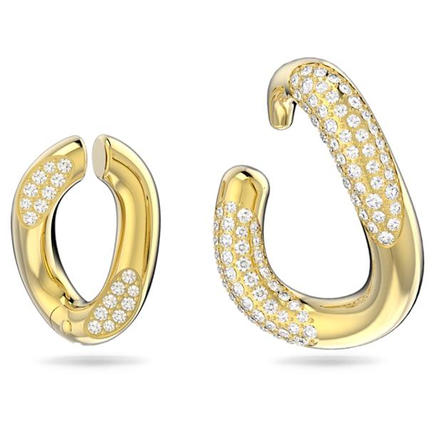 Dextera ear cuff, Single, Asymmetrical, Set (2), White, Gold-tone plated - Swarovski, 5615734