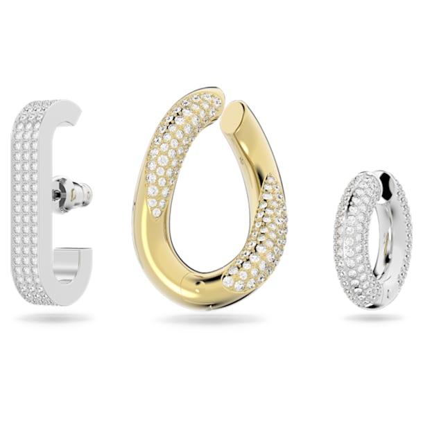 Pendiente ear cuff Dextera, Individual, Conjunto, Cristal talla baguette, Blanco, Combinación de acabados metálicos - Swarovski, 5615735