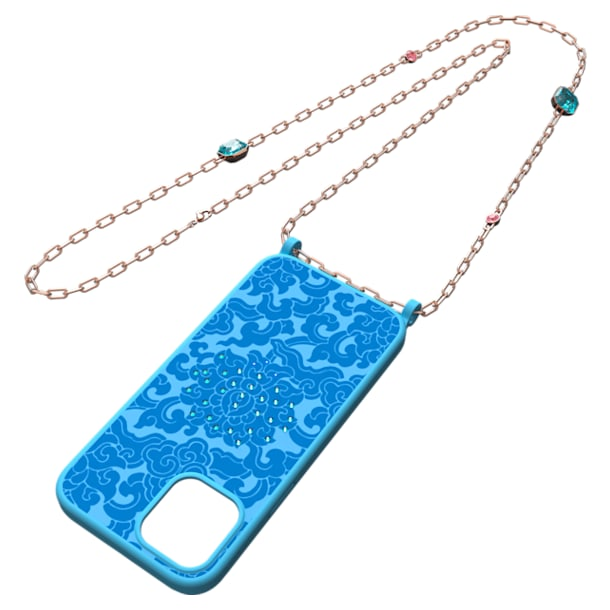 Connexus Smartphone case, iPhone® 12 Pro Max, Blue, Rose-gold tone plated - Swarovski, 5615865