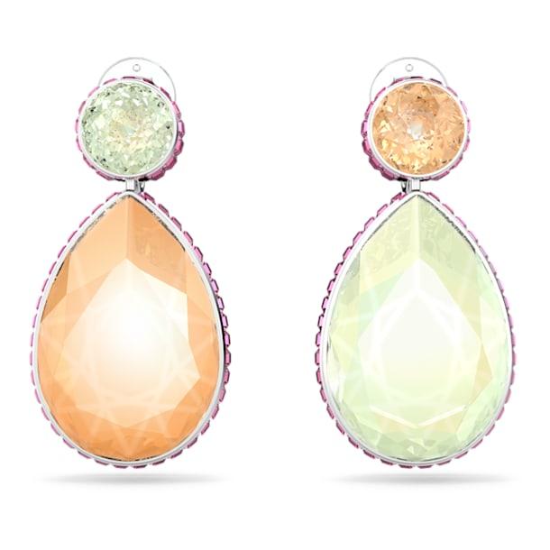 Pendientes Orbita, Asimétrico, Cristales con talla de pera, Multicolor, Baño de rodio - Swarovski, 5616019