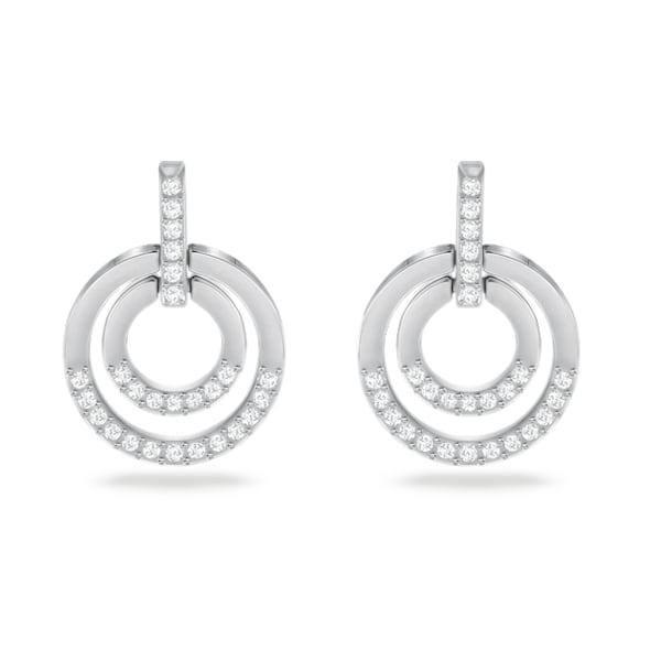 Circle pierced earrings, White, Rhodium plated - Swarovski, 5616265